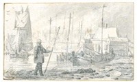 view on the ij in amsterdam, near the boothuisje with a figure standing by an abandoned cannon by pieter coopse