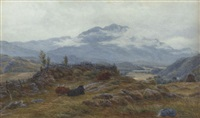 cattle resting in a mountainous landscape by john james bannatyne