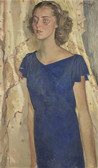 portrait of a young girl in a blue dress by nikolai vladimirovich remizov