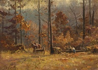 woodcutters working with horses in an autumn forest by theodore clement steele