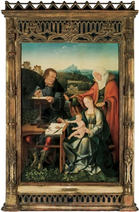 virgin and child, saint joseph and sainte anne in a landscape by joos van cleve