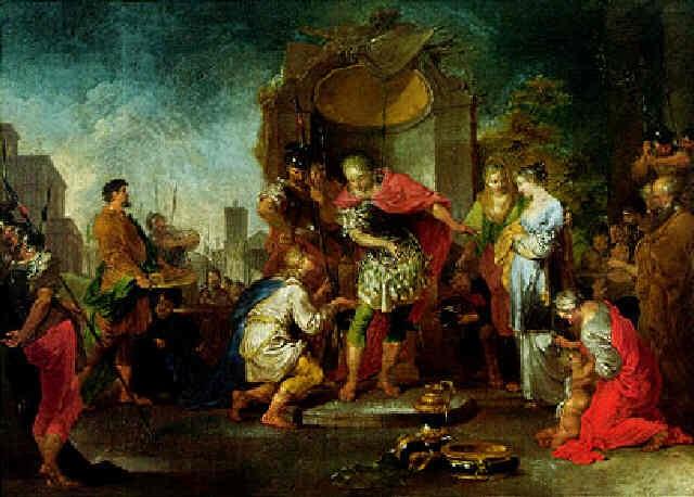 marcus curius weist die geschenke der samniter zurueck by januarius johann rasso zick