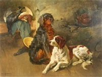 two spaniels with game by karl kristian uchermann