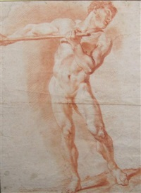 a male nude holding a baton (+ reclining female nude gazing upwards, verso) by giovanni battista piazetta