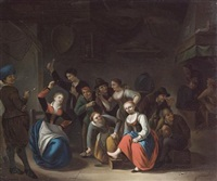 an interior with figures playing la main chaud by gerrit lundens