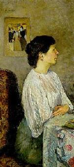 portrait de mme. milcendeau de profil by charles edmond theodore milcendeau