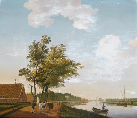 a river landscape with a drover and his cattle on a country path a canal with figures in a barge and a windmill beyond pair by hendrik keun