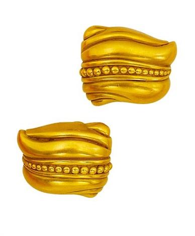 a pair of earclips (model caviar) by kieselstein-cord