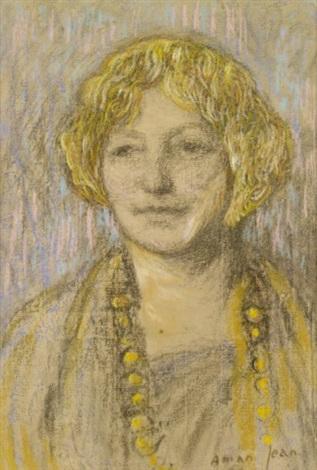 portrait de femme au collier by edmond françois aman jean