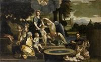 la sainte famille en egypte dite la sainte famille à la vasque by sébastien bourdon