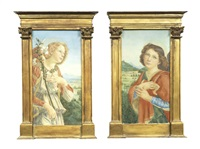 two angels in an italian renaissance landscapes, a pair each 45 x 23cm (17 11/16 x 9 1/16in).(2) held in tabernacle frames by henry treffry dunn