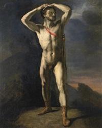 académie d'homme nu au glaive by théodore géricault