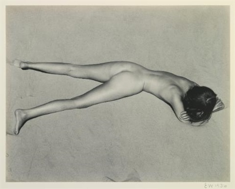 nude on sand oceano face down by edward weston