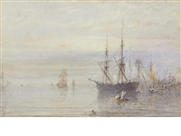 morning off whitby (+ morning on whitby sands; pair) by george weatherill
