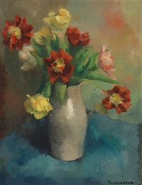 flowers in an earthenware vase by karel bleyenberg