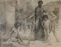 un spartiate montre un esclave ivre à ses fils by ferdinand sabatté