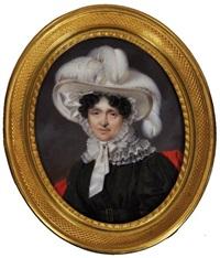portrait de femme en robe noire ornée d'un col en dentelle by pierre leonard cousin