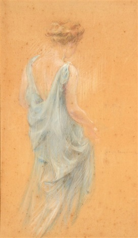 woman with a blue dress by james carroll beckwith
