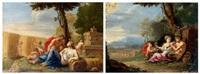 la famille du satyre ou le printemps et satyre et figure de cérès, groupe d'enfants jouant ou l'été (2 works) by nicolas perelle