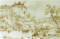 view of a hilltop castle, with waggons fording a river in the foreground by josua de grave