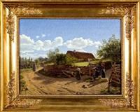 scène de village by frederik (johan frederik nikolai) vermehren