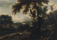 paesaggio fluviale con figure e armenti by antonio francesco peruzzini