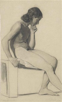 a youthful seated male nude; a male nude holding a staff, seen from behind, with a subsidiary study of a profile (2 works) by alfred stevens
