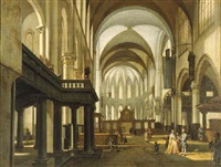 a view of the oude kerk, amsterdam, looking towards the choir with an elegant couple and children in the nave by hendrick van streeck