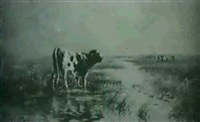 cattle in a landscape by hugh antoine fischer