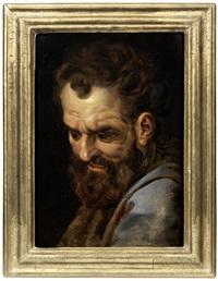 head studies of bearded men (2) by frans floris the elder