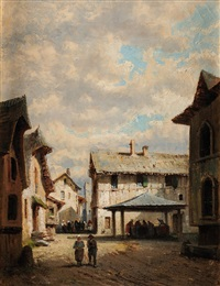 scènes de village (2 works) by alfred godchaux