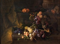 nature morte aux raisins, singe et perroquet by jan pauwel gillemans the younger