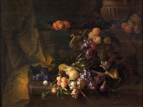 nature morte aux raisins singe et perroquet by jan pauwel gillemans the younger
