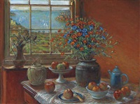 still life with harbour view by margaret hannah olley