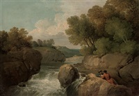 a rocky river landscape with two men reading on a rock by anglo-irish school (19)