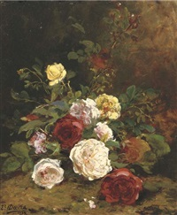 roses on a forest floor by euphémie thérèse (didiez) david