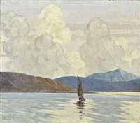 sailing boat on a lough by paul henry