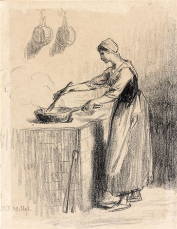 jeune femme préparant le repas dans une poêle by jean françois millet