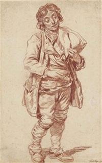 homme debout tenant son chapeau by sigmund freudenberger