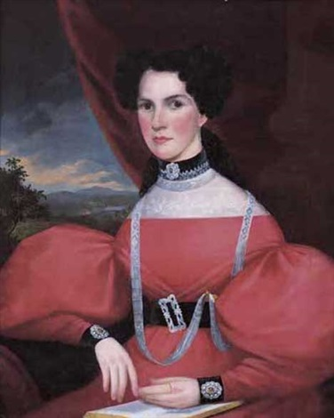 portrait of a seated lady wearing a red dress with lace and jewelry by john sherburne blunt