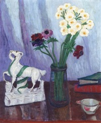 still life with goat figurine by stanislawa de karlowska
