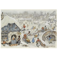 winter fun on the ice by anton pieck