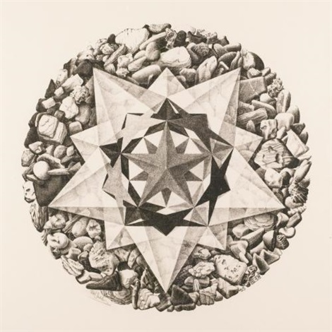 order and chaos ii compass card by m c escher