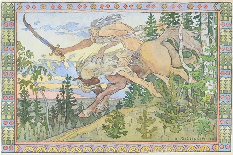 illustration for a russian book by ivan yakovlevich bilibin