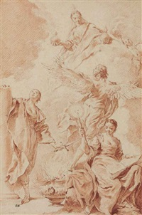 allegorical figures of constancy, philosophy and truth, with a winged genius by giovanni battista piazzetta
