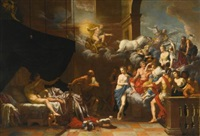 vulcan surprising venus and mars in bed before an assembly of the gods by johann heiss