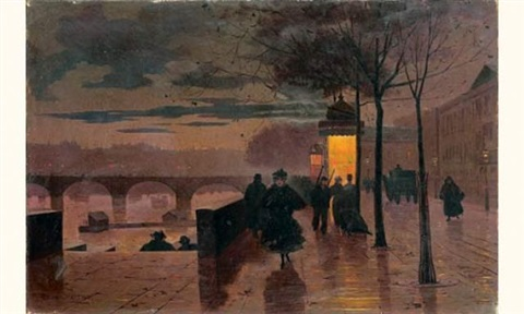 le soir quai du louvre by léon parent