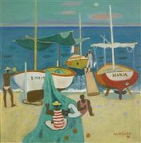 fishing boats at fondachello by alberto morrocco