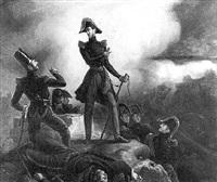 le duc d'orléans dans la tranchée au siège de la citadelle d'anvers, 29-30 novembre 1832 by adolphe roger