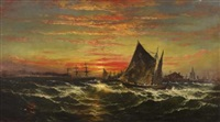 sunset on the harbor by james hamilton